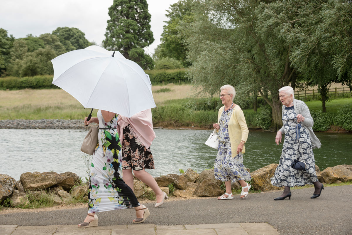 Wedding guests arriving at Normanton Church