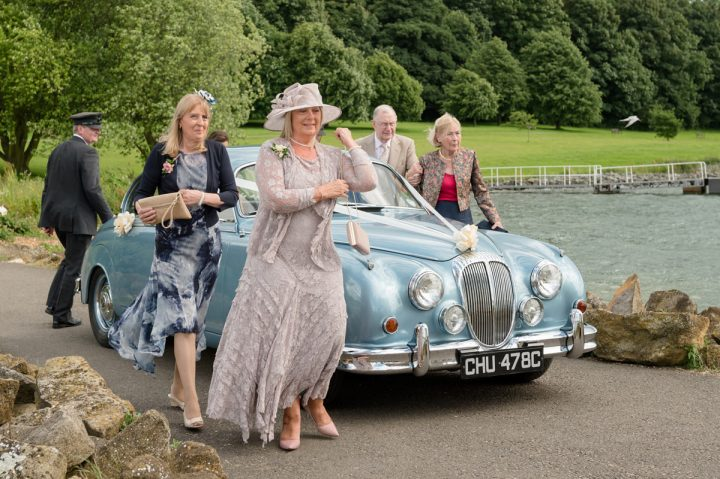 Bride's mum and aunt arriving at Normanton Church
