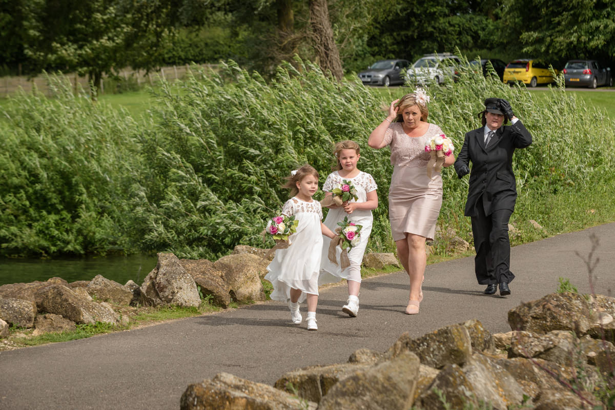 Bride's sister and nieces arriving at Normanton Church