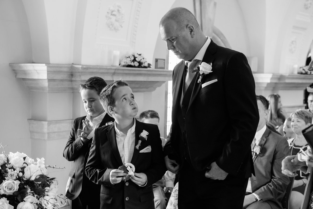 A nervous groom and his two sons at Normanton Church