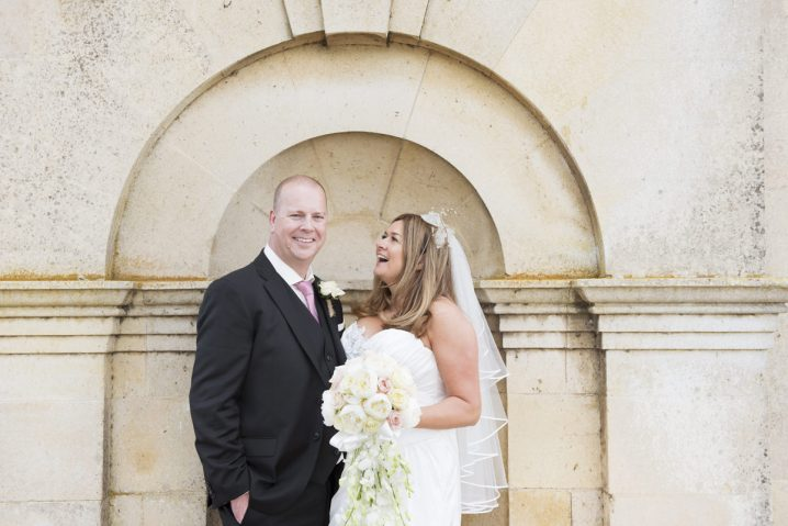 Portrait of a bride and groom at Normanton Church