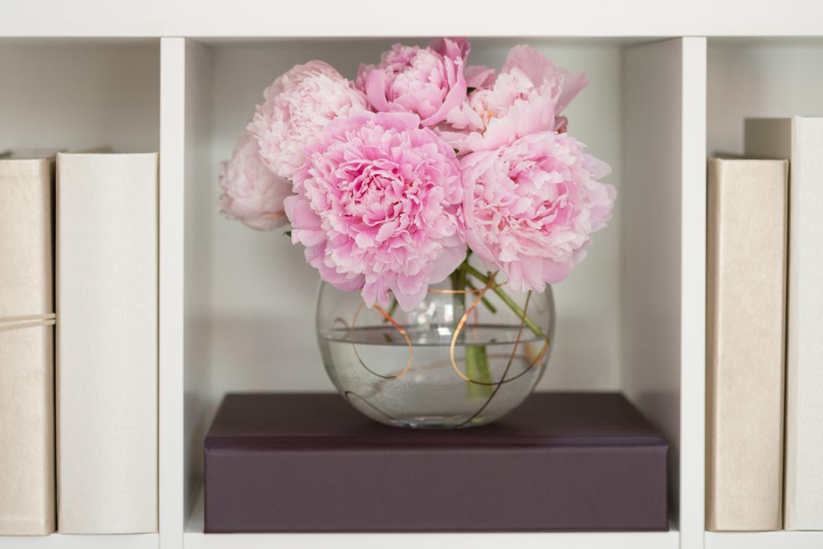 Pink peonies in a Kate Spade bowl vase