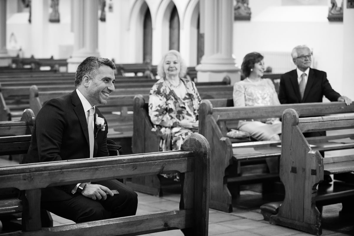 Groom just before getting married at Northampton Cathedral