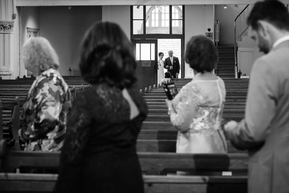 Bride entering Northampton Cathedral for micro wedding