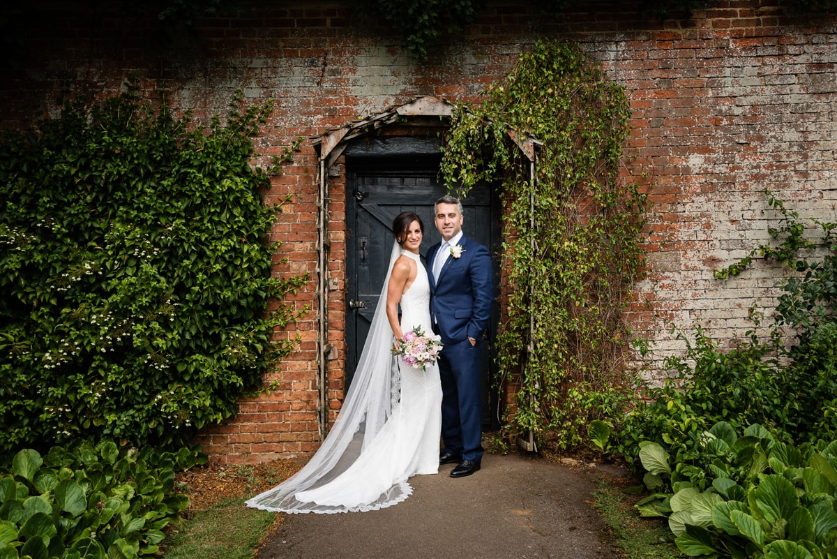 Rustic walled garden wedding photo at Delapre Abbey