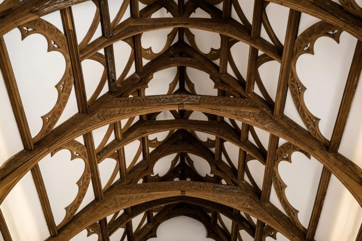 Detail of the roof in the Great Hall at Fawsley
