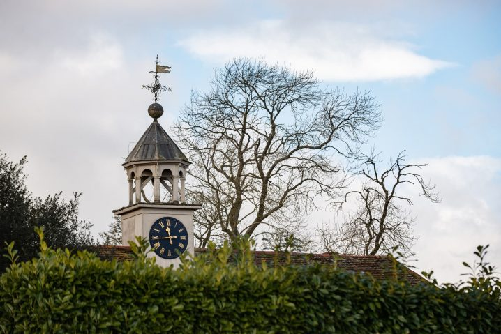 Clock tower at Fawsley Hall