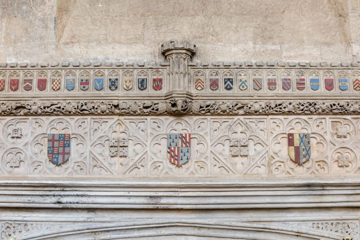 Coats of arms on fireplace at Fawsley Hall