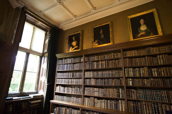 Bookcase in the library at Holdenby House