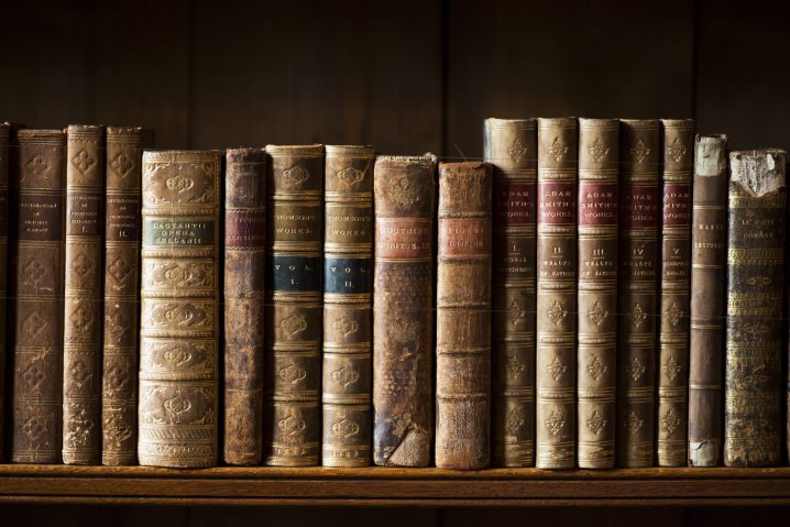 Books in the library at Holdenby House