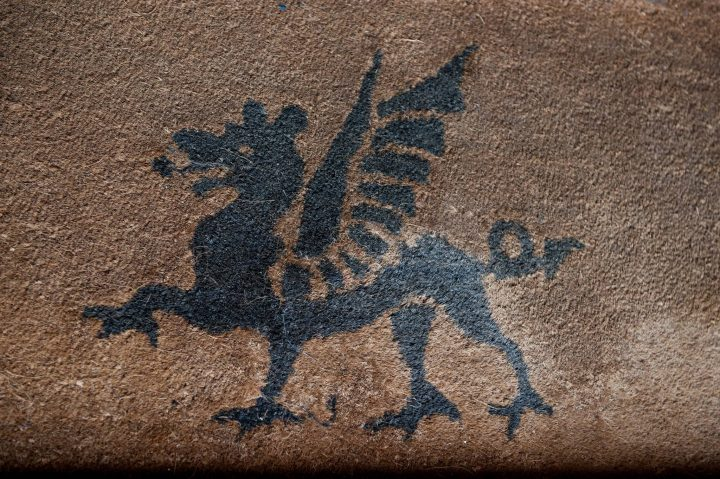 Dragom emblem on the doormat at Holdenby House
