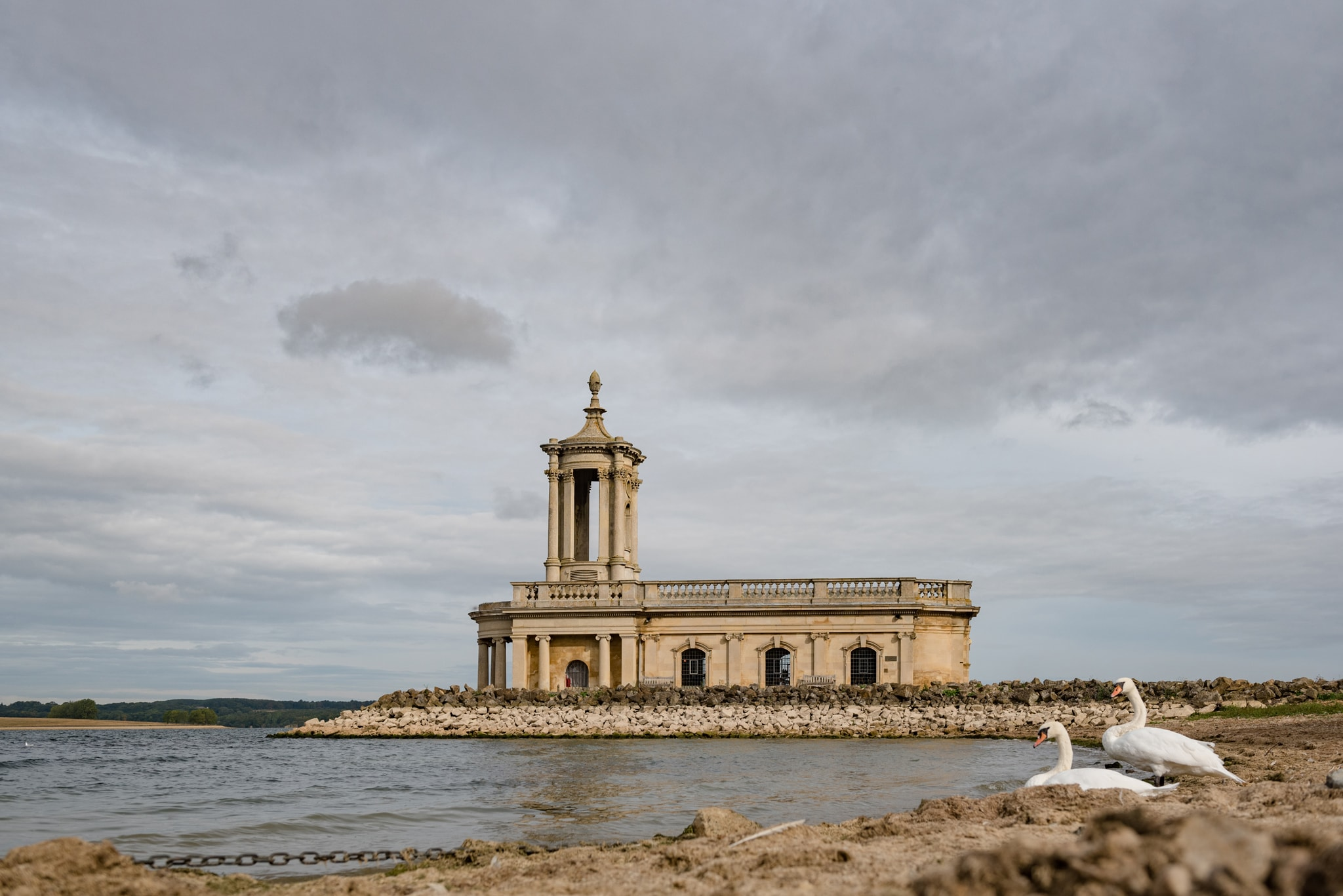 Normanton church with two swans in the foreground