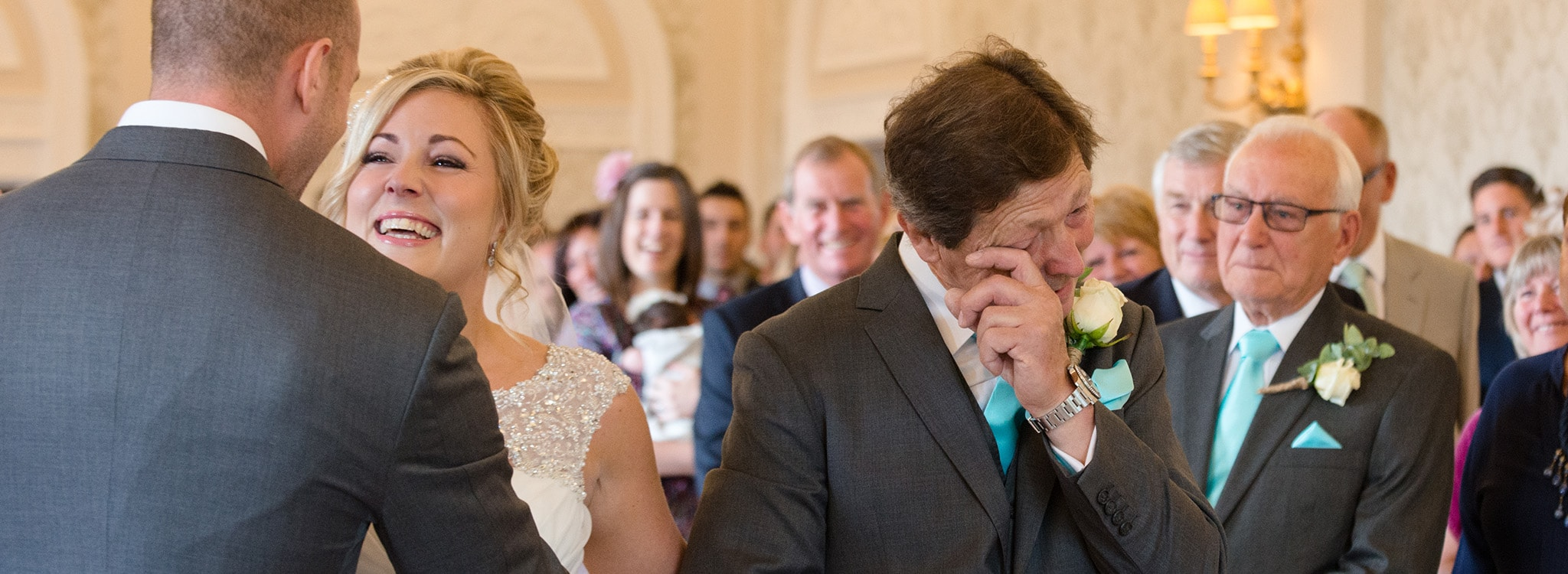 Two reactions in one wedding photo