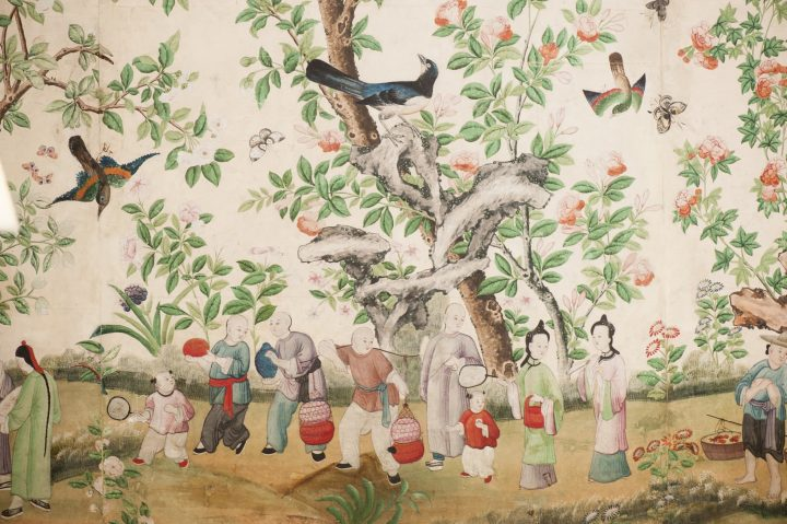A detail of the chinese wallpaper at Kelmarsh Hall