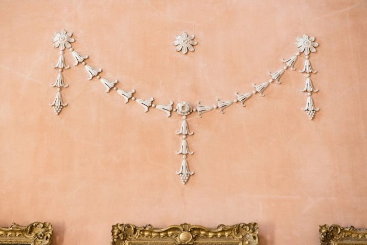 Decorative plasterwork detail in the great hall at Kelmarsh Hall