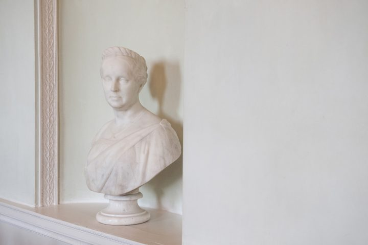 A marble bust in the Saloon at Kelmarsh Hall