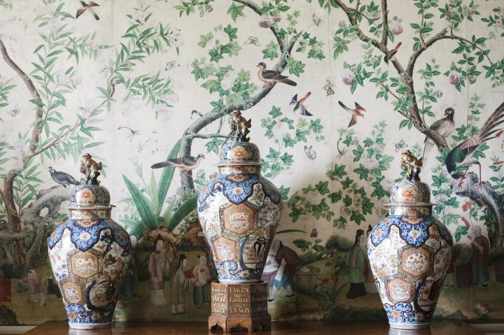 Gold dust jars in the Chinese Room at Kelmarsh Hall