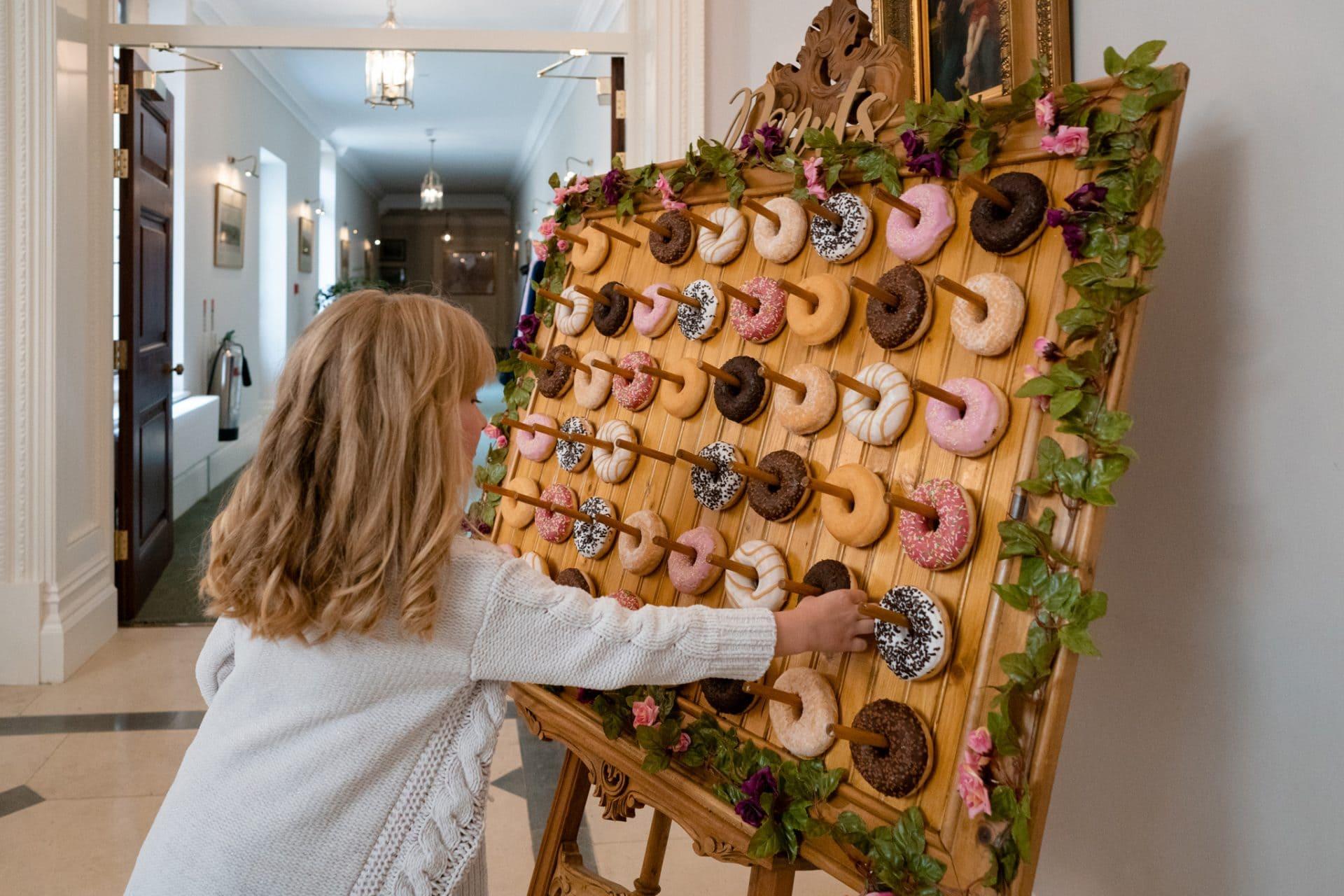 Display of doughnuts at a wedding