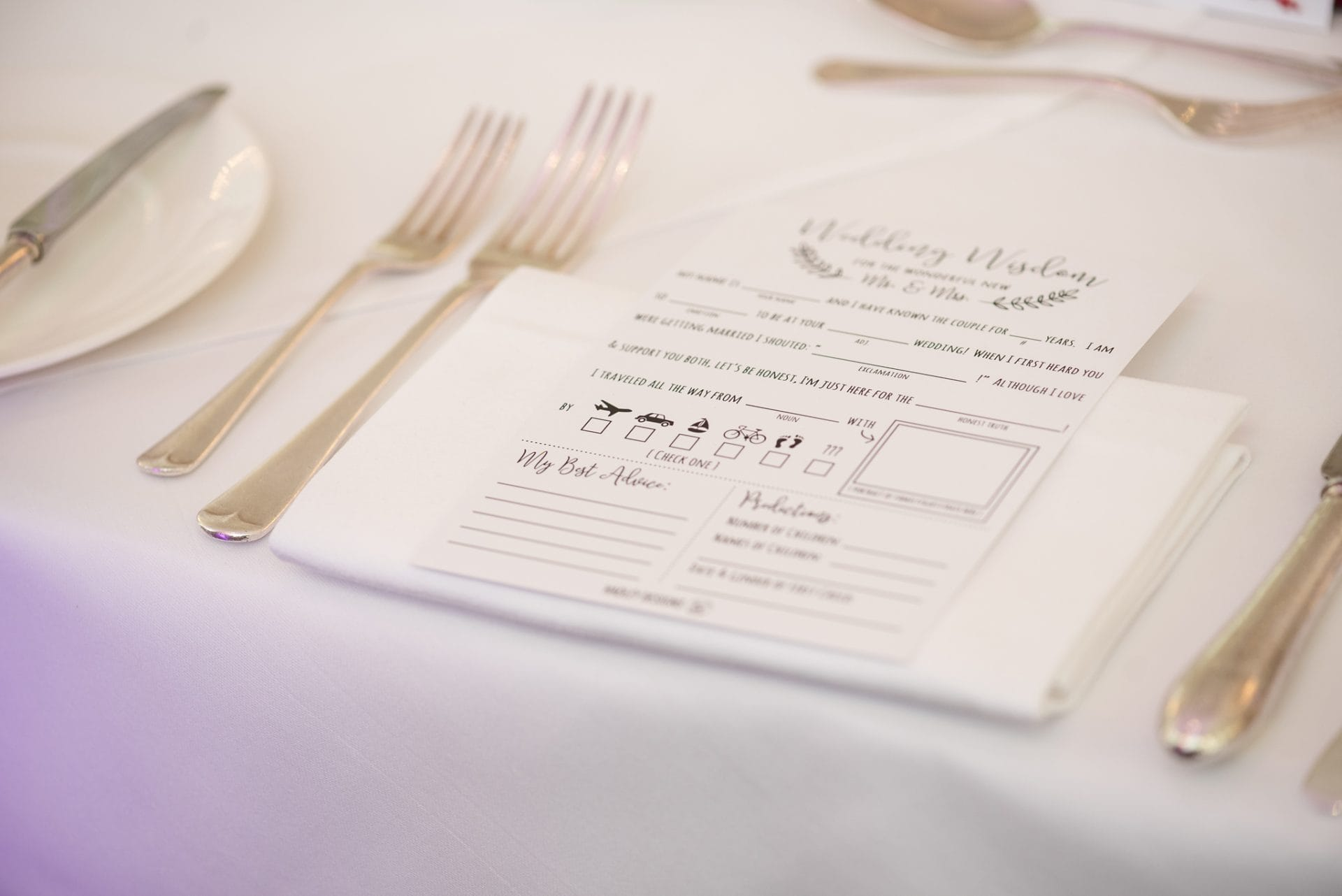 Wedding wisdom cards for guests to fill in