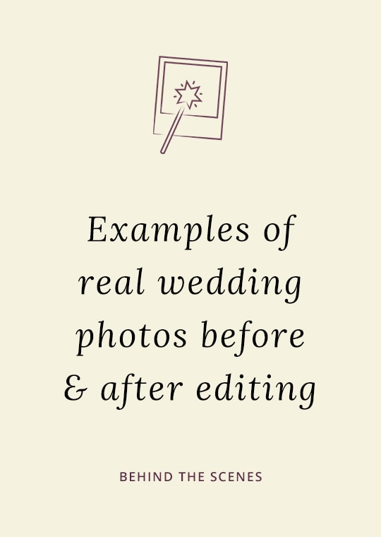 Cover image for blog post with wedding photos before and after editing